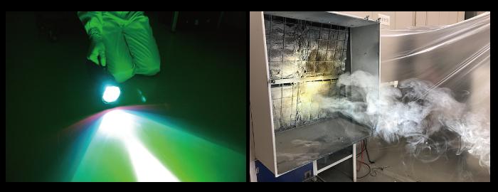 作業環境の清浄確認浮遊塵埃の可視化にエムギア 塗装